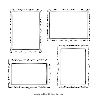 Pack of hand-drawn decorative photo frames