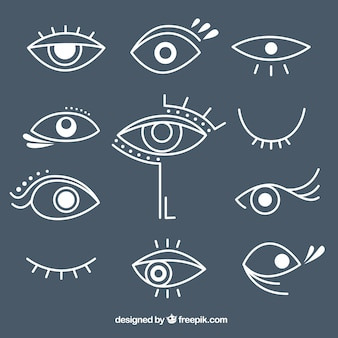 Pack of hand drawn different eyes