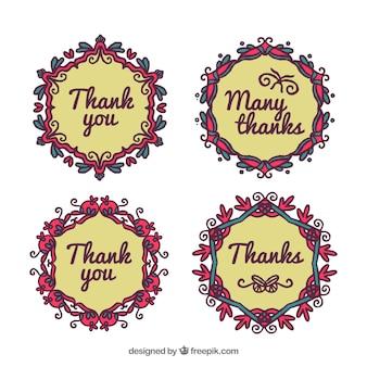 感謝のメッセージを持つ手描きの花のステッカーのパック