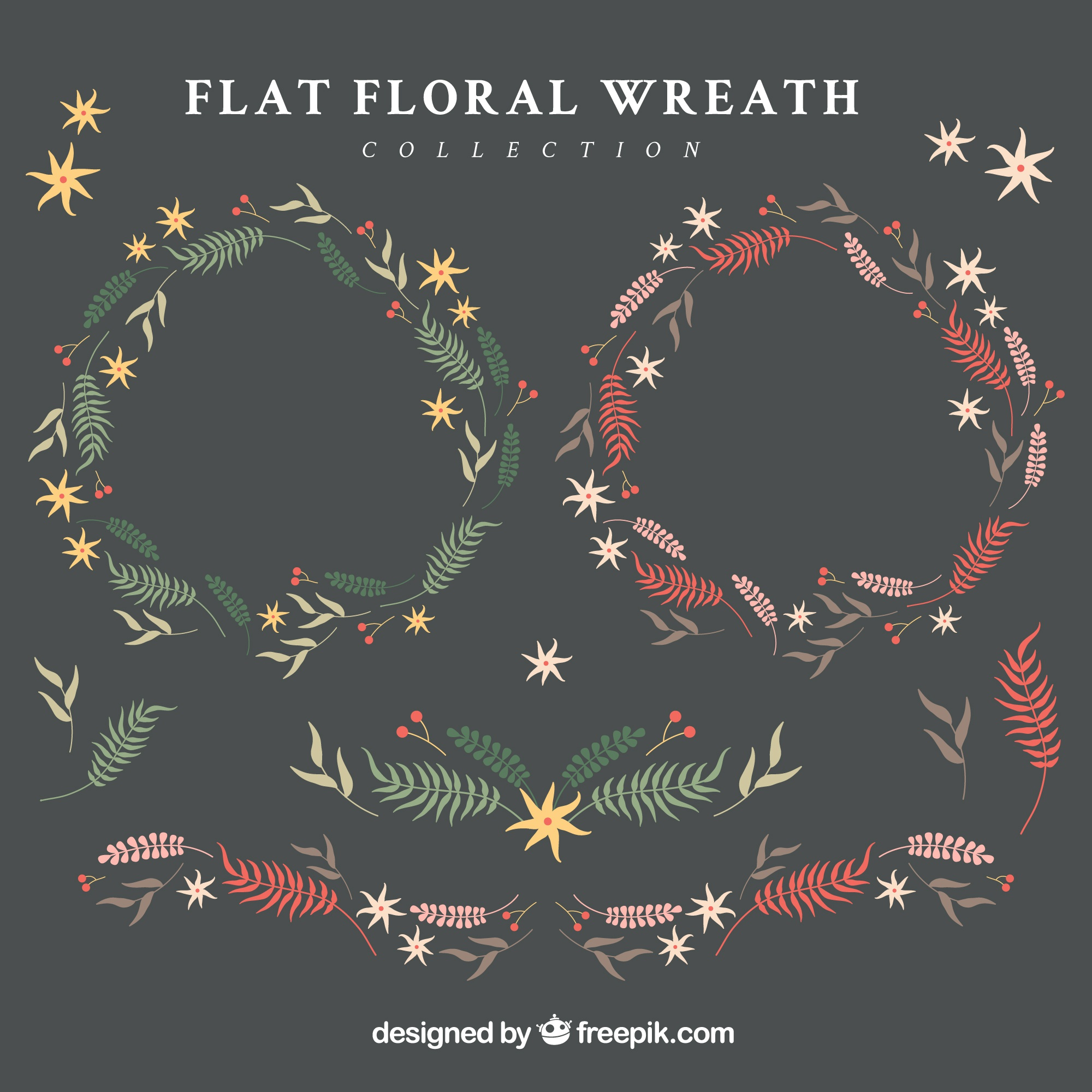 Pack of hand-drawn floral wreaths