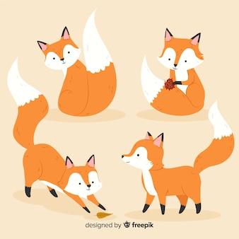 Стая рисованной лисы