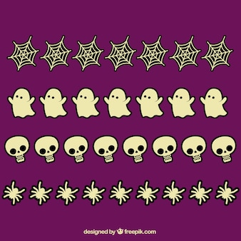 Pack of hand drawn halloween decorative elements