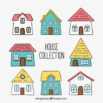 Pack of hand drawn houses
