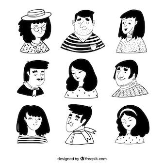 Пакет рисованных приятных аватаров людей