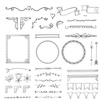 Пакет рисованной декоративных элементов