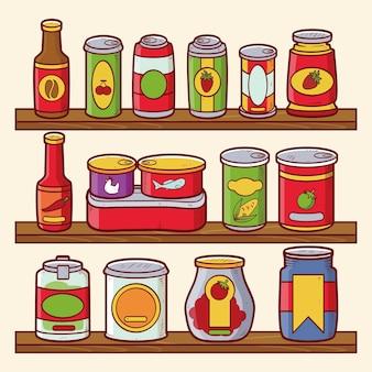 さまざまな食品と手描きのパントリーのパック