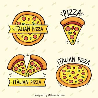 ピザのロゴを描いた手のひらパック