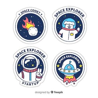 Пакет рисованной космических стикеров