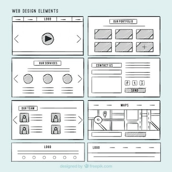 Pack of hand drawn website elements