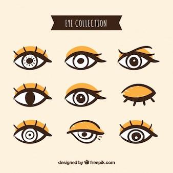 手描きの女性の目のパック