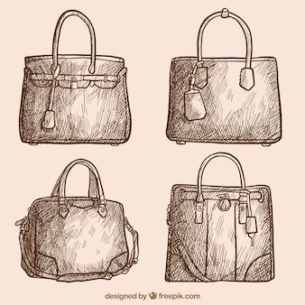 ヴィンテージスタイルでハンドバッグのパック