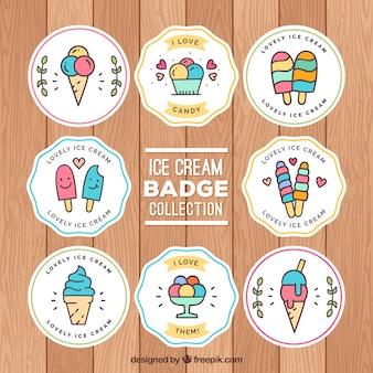 선형 스타일의 아이스크림 스티커 팩
