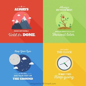 Пакет иллюстрированных вдохновляющие цитаты