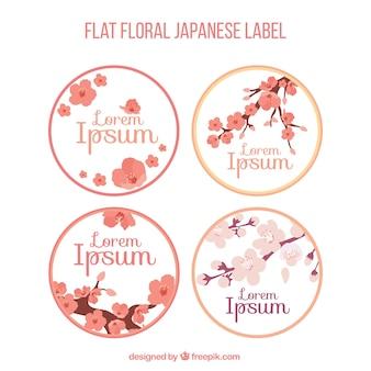 桜と日本のラベルのパック