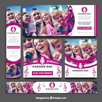 Пакет баннеров караоке-баров Бесплатные векторы