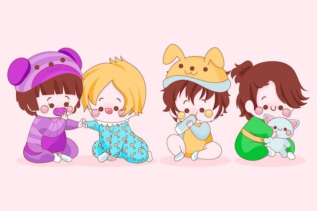 かわいい日本の赤ちゃんのパック