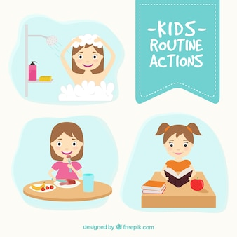 Pack of kids routine actions