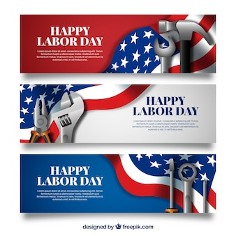 Pack of labor day banners with realisitic design