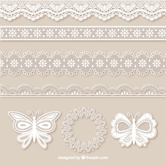 Pack of lace borders and butterflies