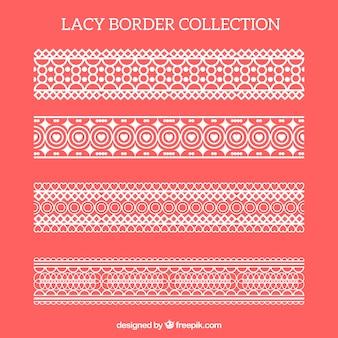 Пакет декоративных границ кружев в плоском дизайне