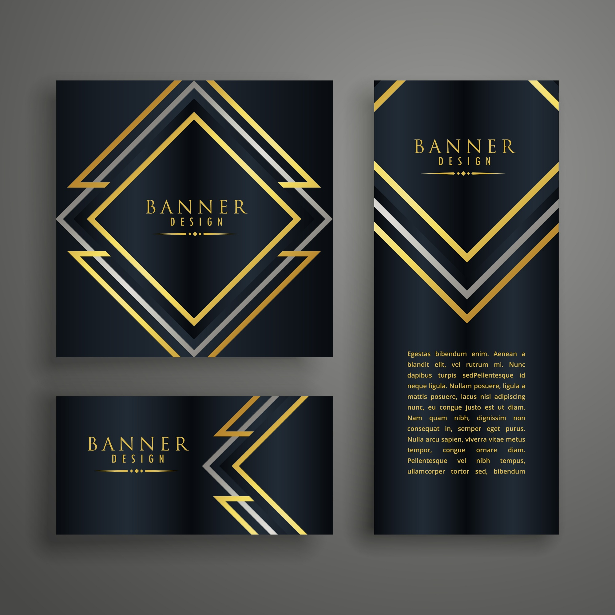 Pack of luxury banners in different shapes