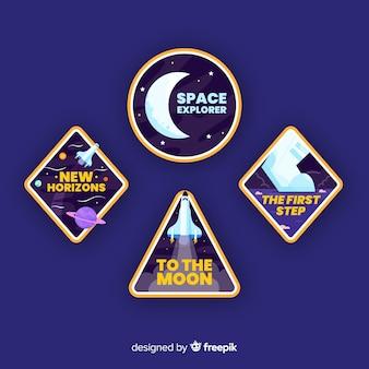 Пакет современных красочных космических стикеров