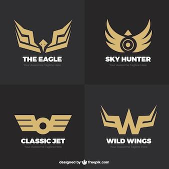 モダンなゴールデンロゴの翼
