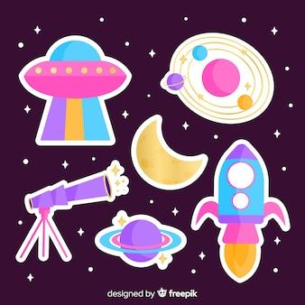 Пакет современных иллюстрированных космических стикеров