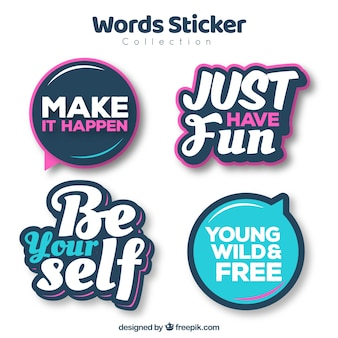 Pack of modern stickers