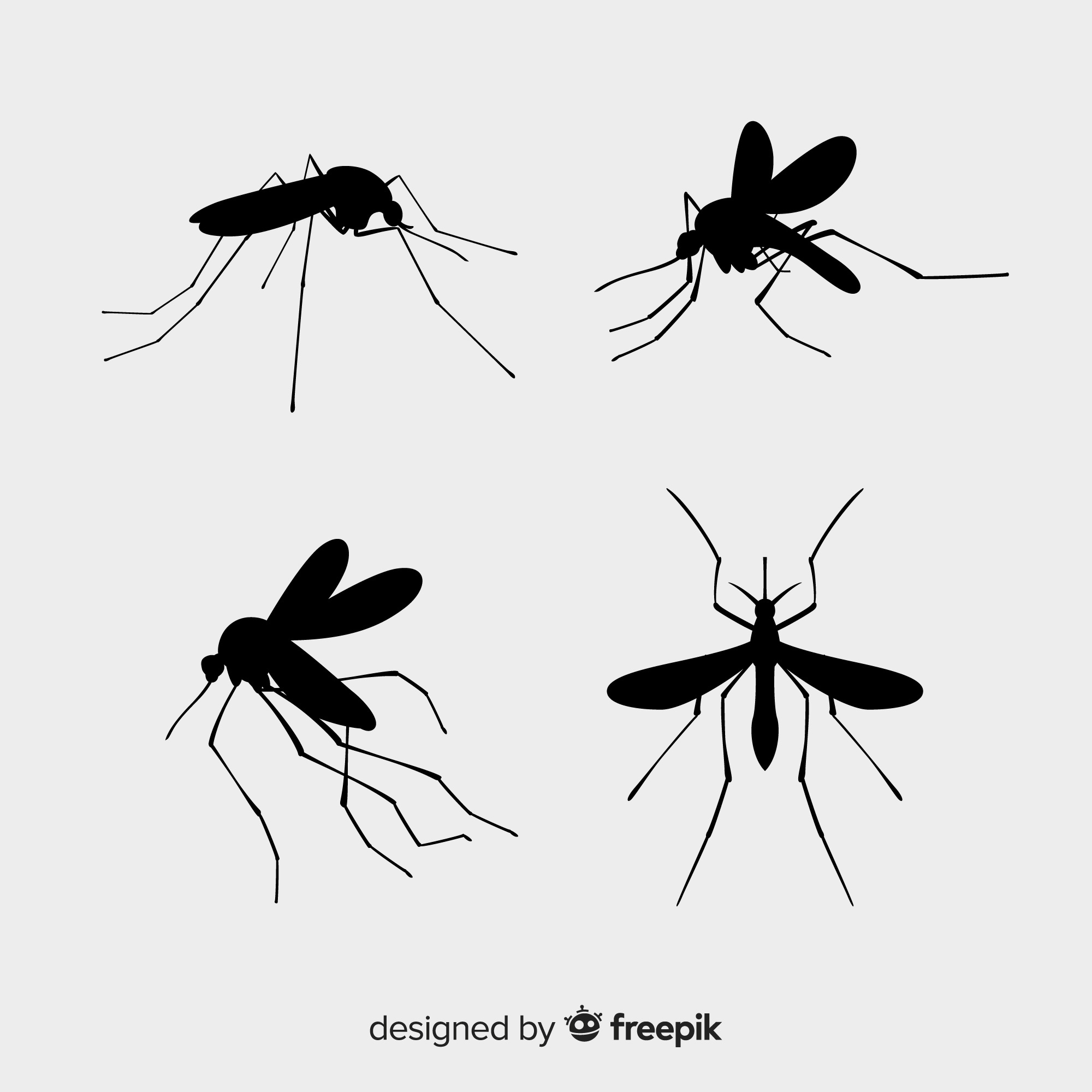 Pack of mosquito silhouettes