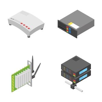 Набор значков сетевых и подключаемых устройств