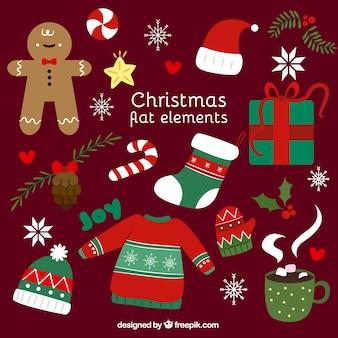 Пакет хороших плоских элементов готов к празднованию рождества