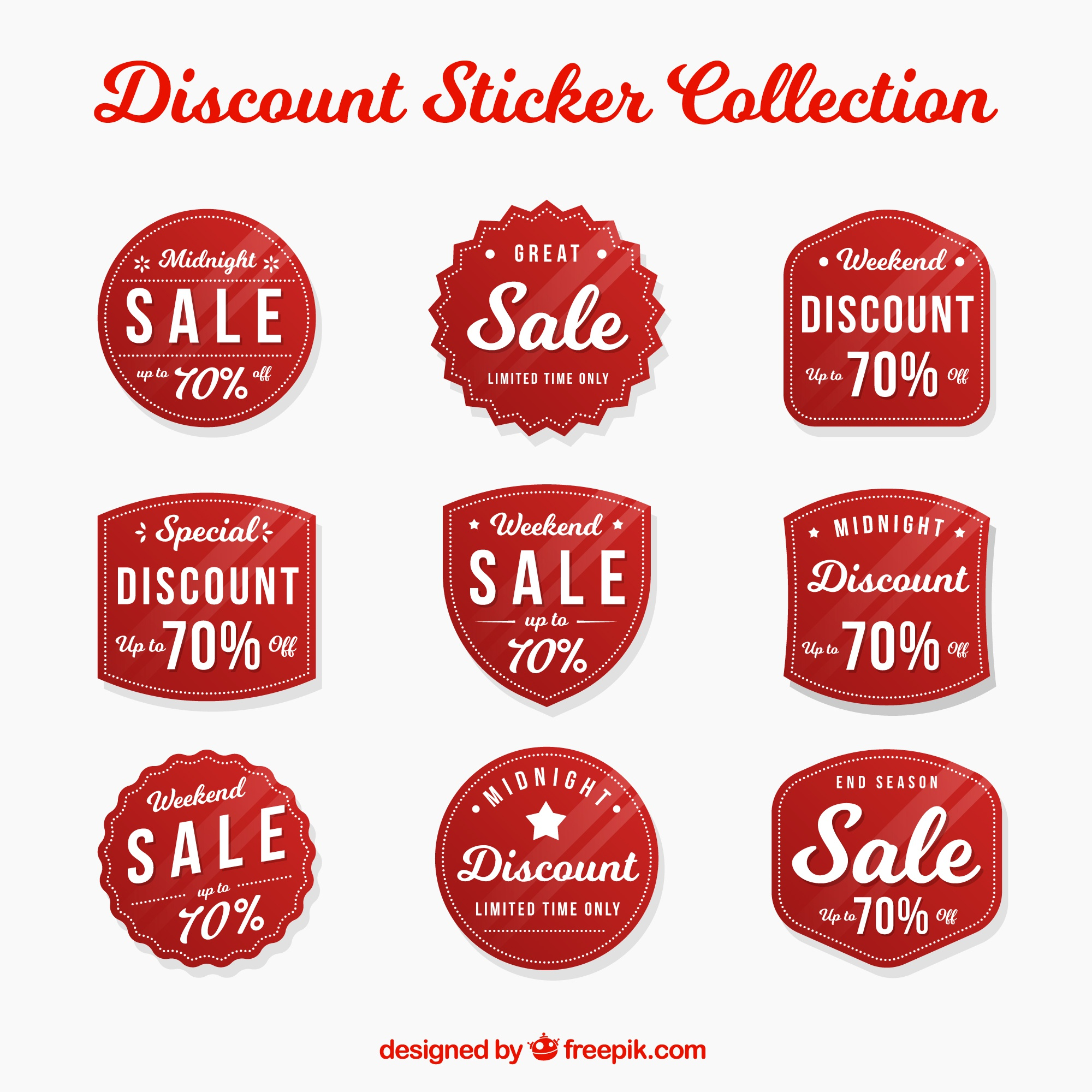 Pack of nine discount stickers