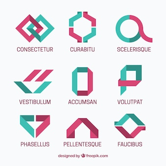 Pack of nine logos in minimalist style