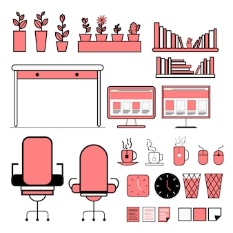 Pack of office equipment flat vector info-graphics