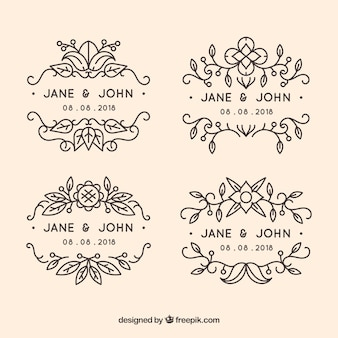Pack of ornamental wedding labels