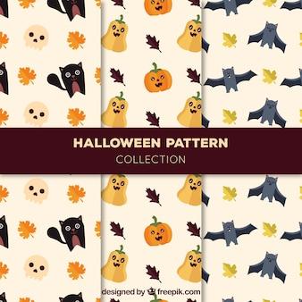 평면 디자인에 멋진 할로윈 캐릭터가있는 패턴 팩