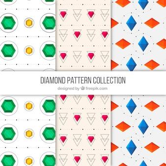 貴重な宝石や幾何学的形状のパターンのパック
