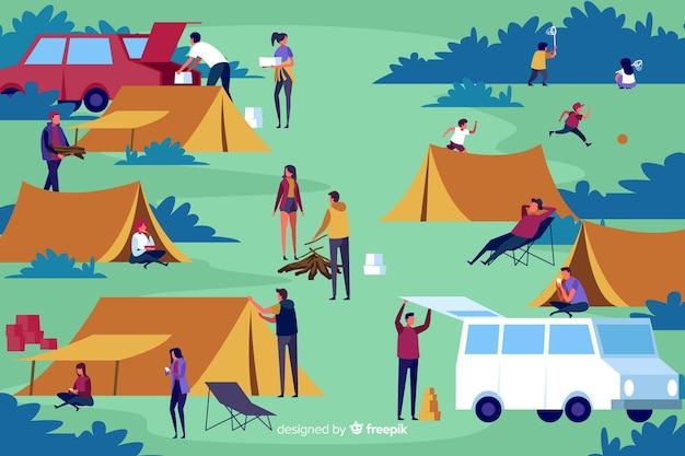 평면 디자인 캠핑 사람들의 팩