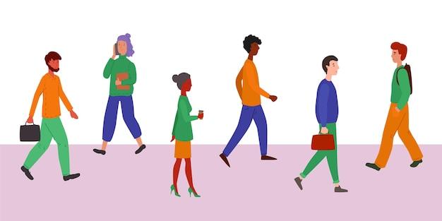 Группа людей возвращается к работе
