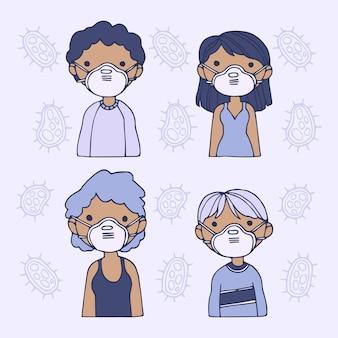 医療マスクを身に着けている人々のパック