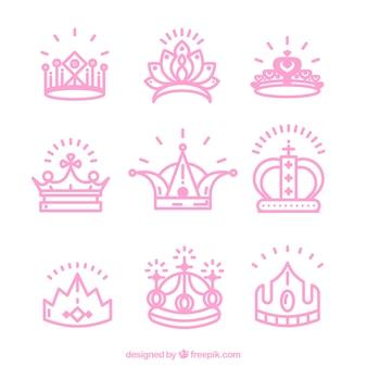 Пакет розовых коронок принцессы
