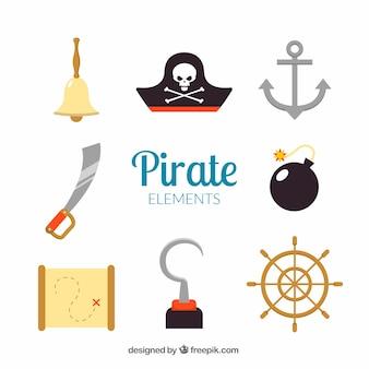 평면 디자인의 해적 요소 팩
