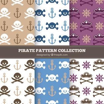 두개골과 뼈가있는 해적 패턴 팩