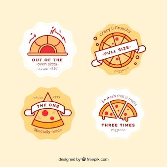 Пакет логотипов пиццы en estilo lineal
