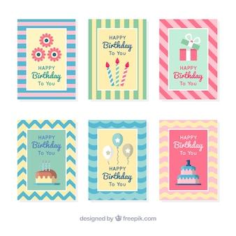 예쁜 생일 줄무늬 카드 팩