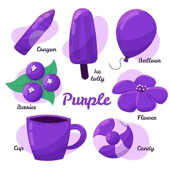 英語の紫色のオブジェクトと語彙のパック