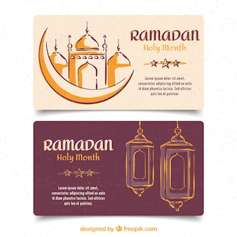 Pack of ramadan banners in hand drawn style