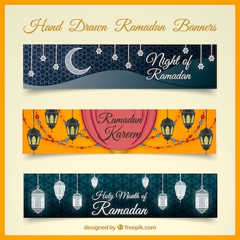 Pack of ramadan banners with decorative elements