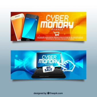 Pack of realistic banners for cyber monday